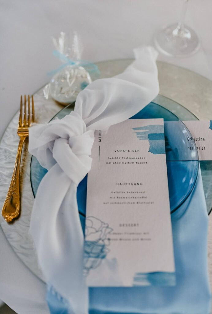 Hochzeitspapeterie Hochzeit Tisch Dekoration Hellblau menükarte