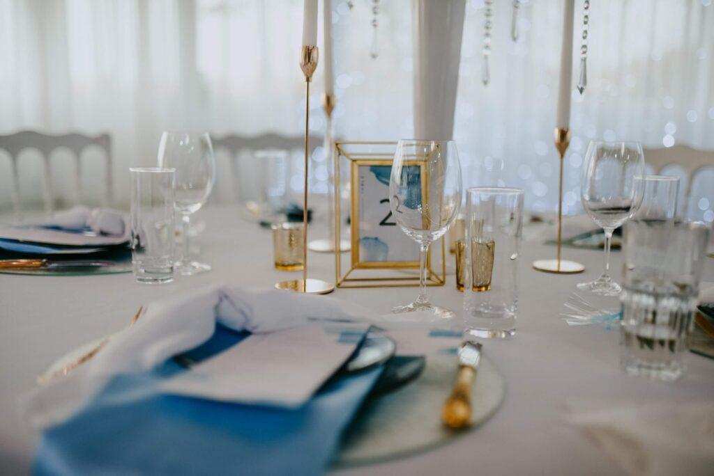 Hochzeit Tisch Dekoration Hellblau