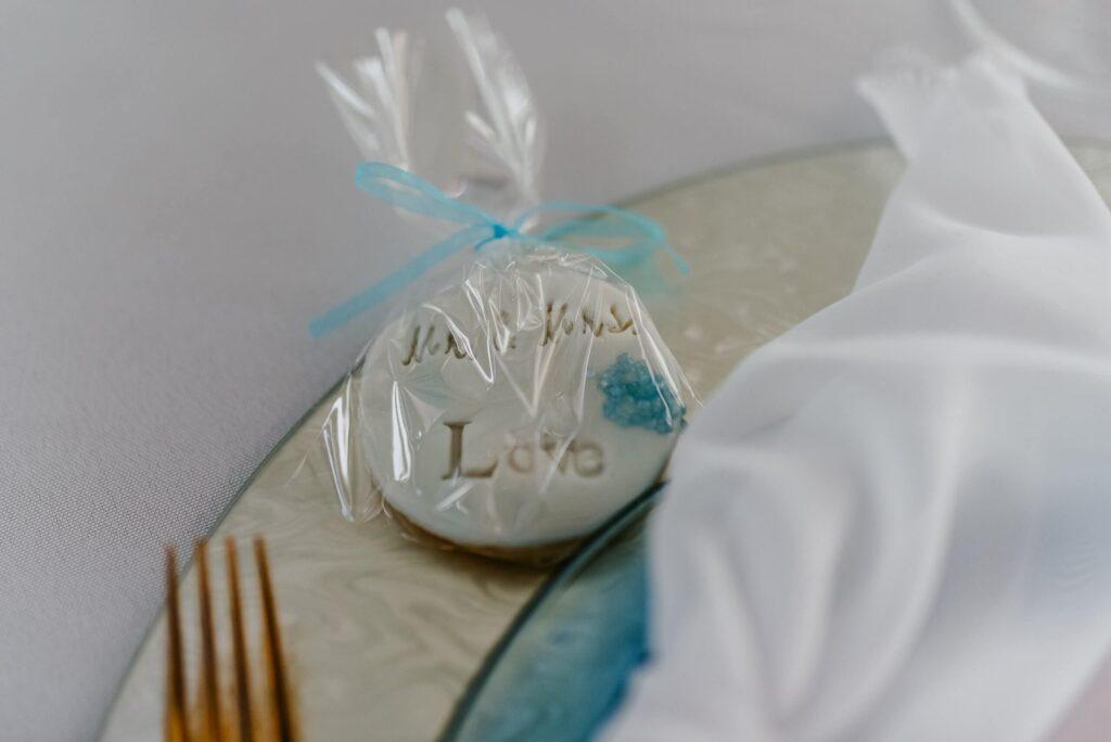 Hochzeit Tisch Dekoration Hellblau keks