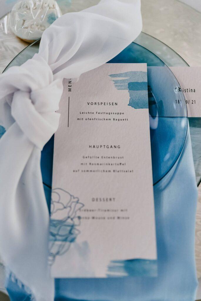 Hochzeit Tisch Dekoration Hellblau menükarte