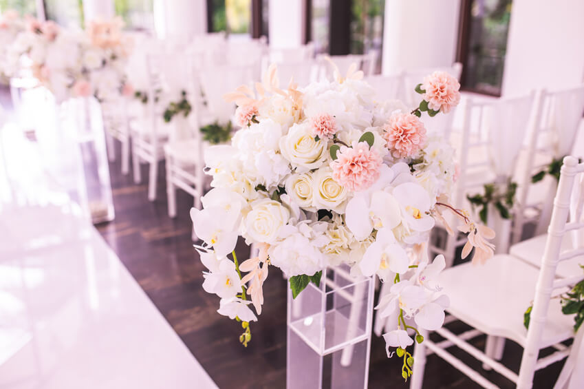 Flowers decorated in the wedding ceremony in the Chapel