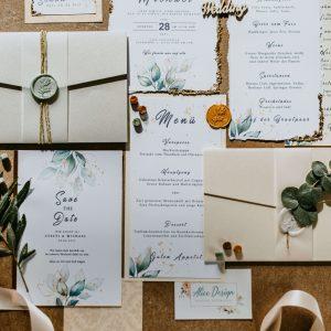 Papeterie Greenery Wedding Paket Set Grün Eukalyptus